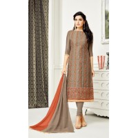 Kashmiri Work Dress material (Brown)