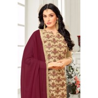 Kashmiri Work Dress material with brown dupatta