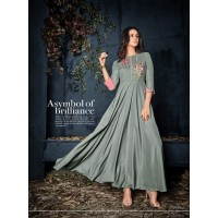 Attractive Grey Colored Party Wear Embroidered kurti
