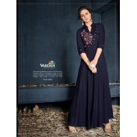 Attractive Navy Blue Colored Party Wear Embroidered kurti