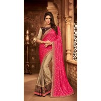 BEAUTIFUL STYLISH  SILK EMBROIDERED SAREES (BEIGE AND PINK)