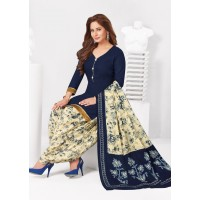 Patiyala Unstitched Cotton Salwar Suit-Royal Blue