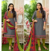 Grey colour chanderi  dress material