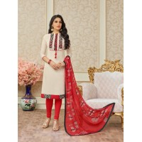 Chanderi white colour women's  unstitched salwar suit