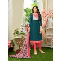 Green colour latest women's cotton unstitched salwar suit dress material