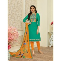 Green colour women's dress material