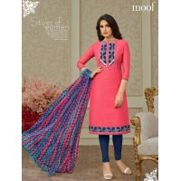 Blue n Pink colour chanderi dress material
