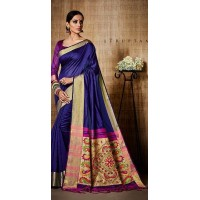Festive wear kalamkari saree (Navy Blue)
